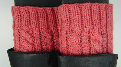 knit cabled boot cuffs pink coral