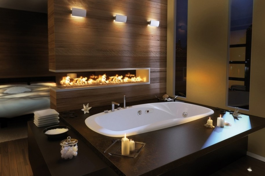 Best Home Interior Design LUXURIOUS BATHROOM IDEAS WITH FIREPLACES
