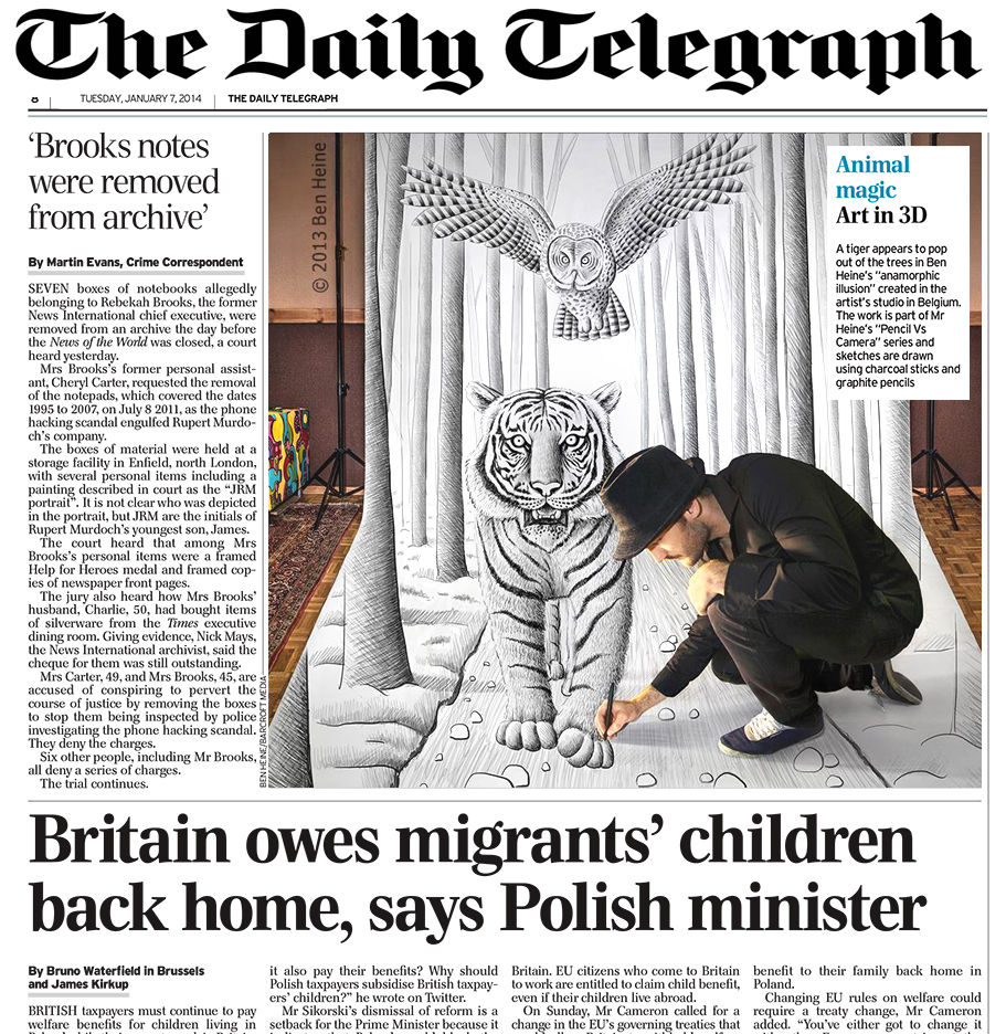 Ben Heine Art - News Article in Daily Telegraph - UK (January 2014)