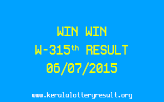 WIN WIN W 315 Lottery Result 6-7-2015