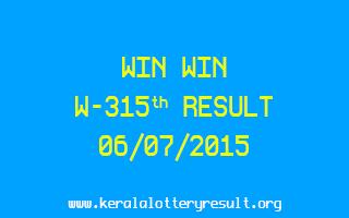 WIN WIN W 315 Lottery Result 6-7-2015
