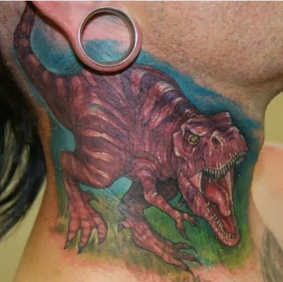 T-Rex Tattoo on Neck