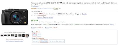 Videata da Amazon con la Panasonic GX1 in vendita a 499$