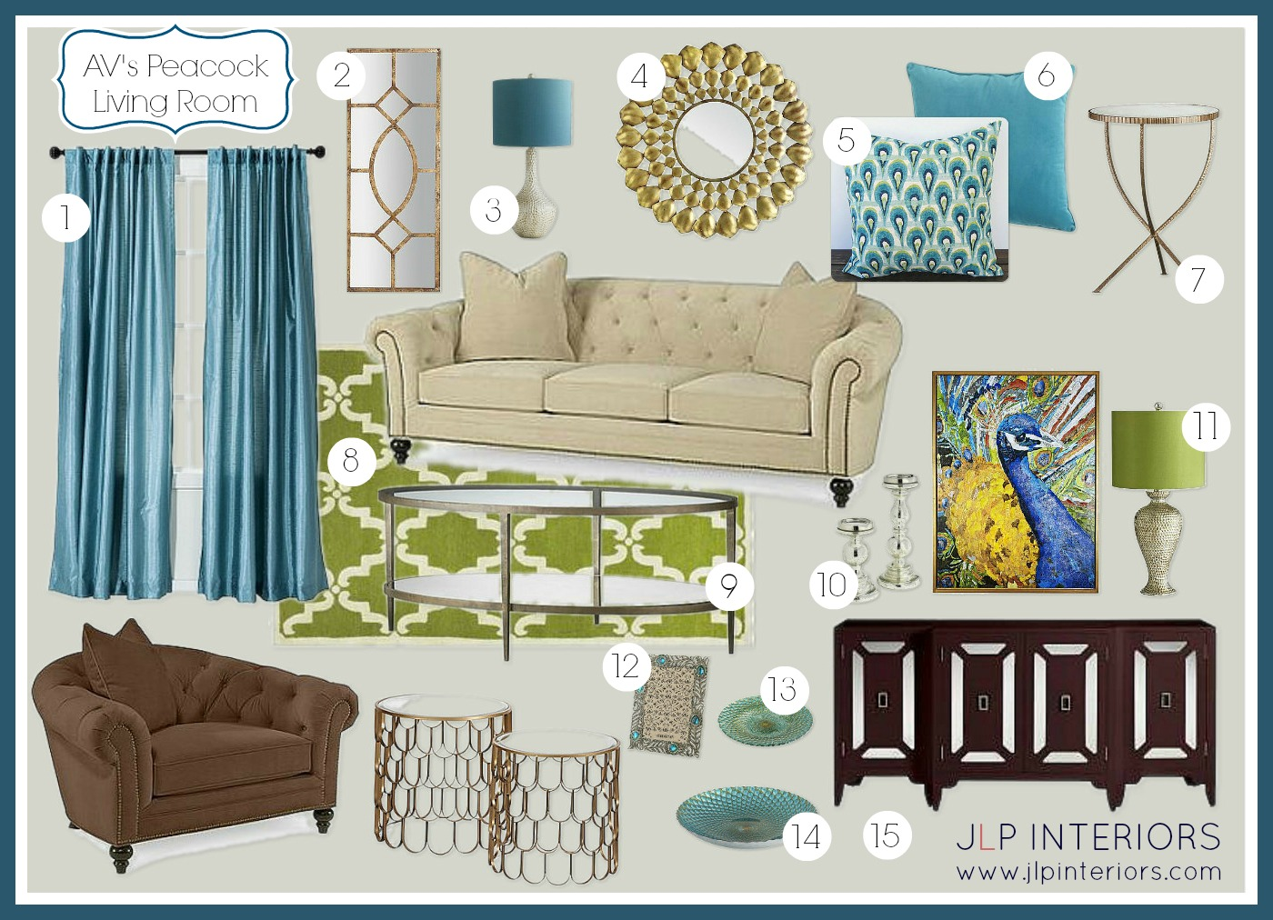 peacock inspired living room. AV had selected the tufted sofa and arm chair  peacock canvas console table nesting tables I some pieces that thought would Home with Baxter E Design A Peacock Inspired Living Room