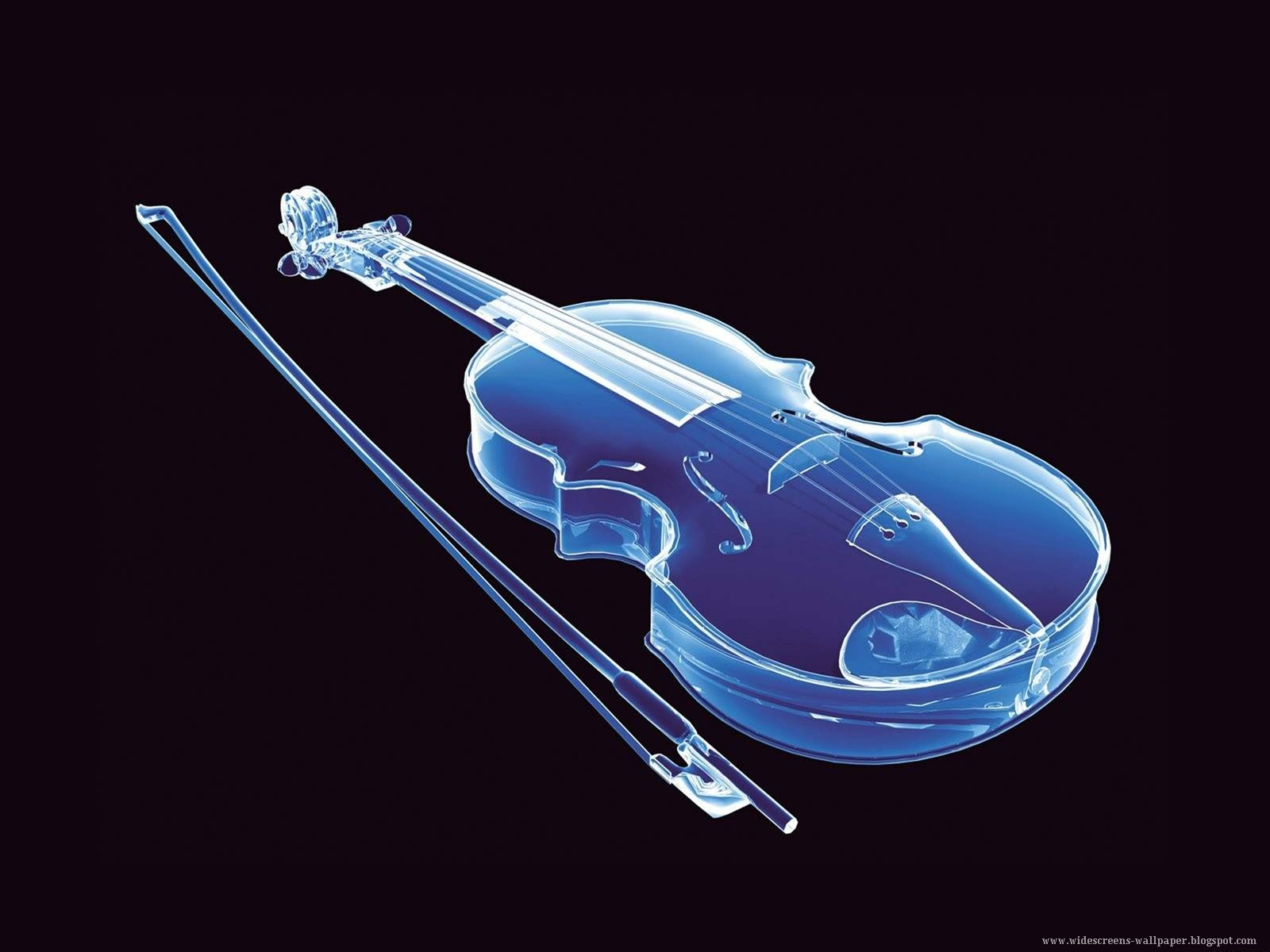 Transparent blue violin wallpaper - Music Violins Collection