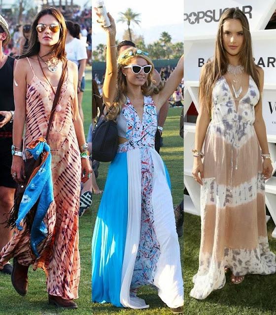 Moda a usar em festivais de verão - maxi vestido estilo boémio e hippie rocker