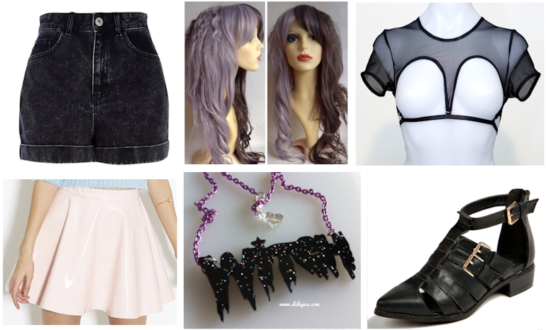 wishlist summer lust list high waisted shorts river island wig geisha split half and half mesh top fetish widows peak teale coco pvc vinyl skater skirt