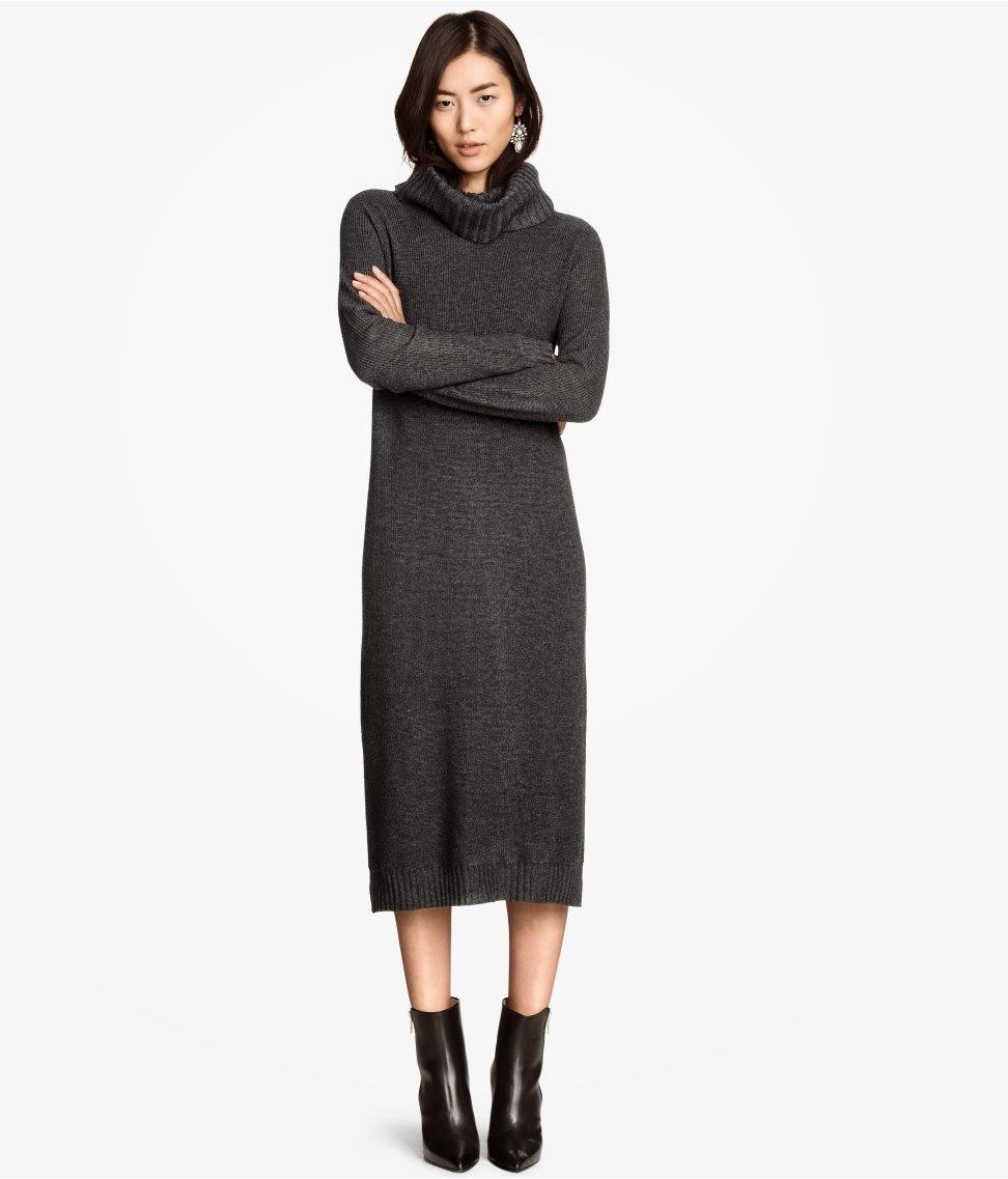 grey knitted midi dress, knitted midi dress,