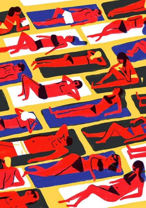 crowded beach in the sun illustration by Virginie Morgand