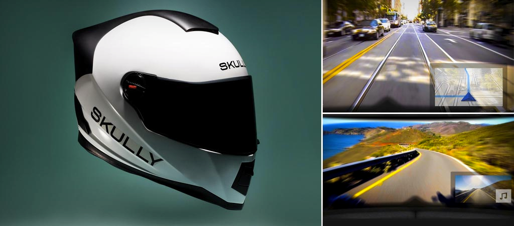 Motorbike helmet google glass riding