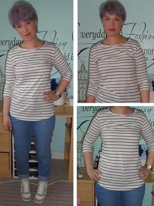 New Look Breton Stripe Top, New Look Mom Jeans, River Island Hidden Wedge Hi Tops