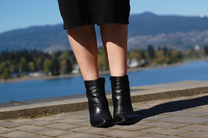 Le Chateau leather ankle boots and pencil skirt - Vancouver fashion blogger