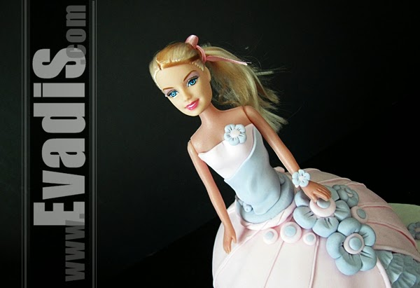Closer view picture of Barbie Cake