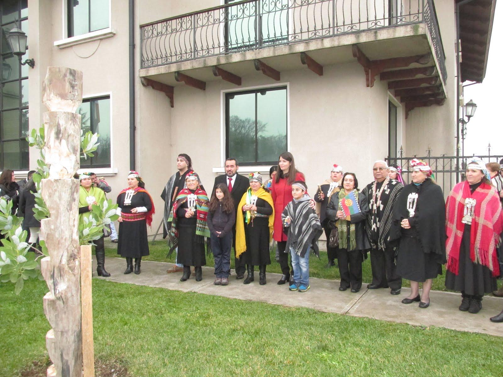 Ceremonia izamiento bandera mapuche Municipalidad de Chillán Viejo