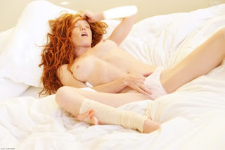 ginger self pleasure in white undies