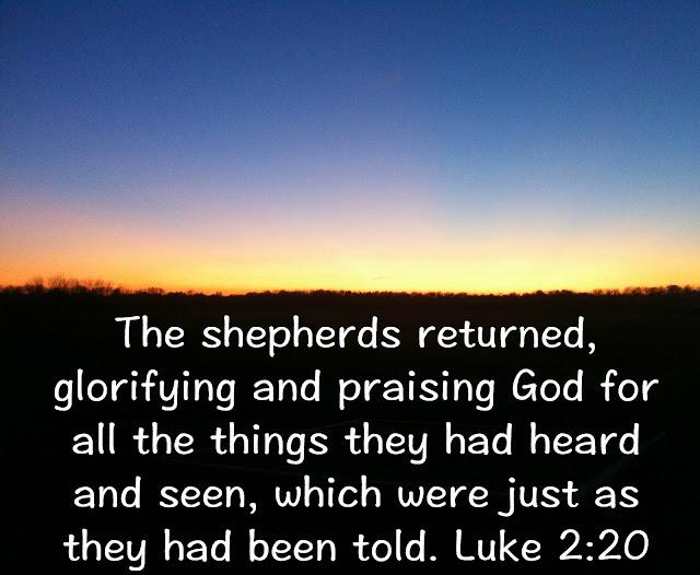 Luke 2:20, encouragement, Christmas