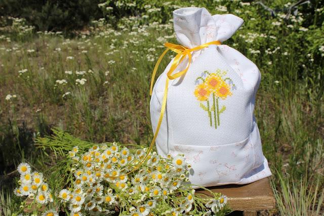 цветы, крестиком, мешочек