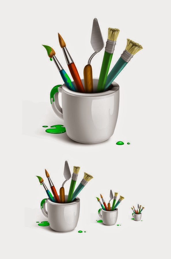 Designer Brushes Icon Set PSD