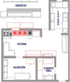 Plano de un local great ver plano completo with plano de - Plano cocina restaurante ...
