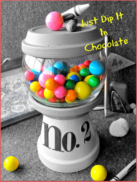 "DIY Pencil Gumball Machine Teacher's Gift, this cute ""Gumball Machine"" will bring a smile to your child's teacher face. Fill it up with candy, cookies, paper clips, your choice, it would look great on her desk!"