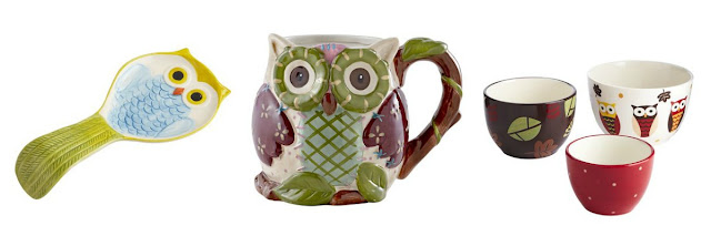 owl themed items including spoon rest, mug, bowls, pillow, owl cupcake set, metal owl figure
