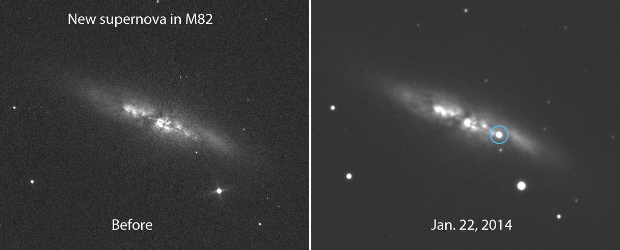 Vụ nổ siêu tân tinh ở thiên hà M82. Hình ảnh : E. Guido, N. Howes, M. Nicolini.