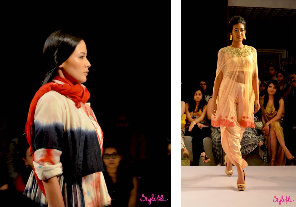 Lakme Fashion Week, LFW, Fashion Week, designer, model, tie dye, dye, pastel, drape, indian, ethnic, scarf, ridhi mehra, karishma shahani