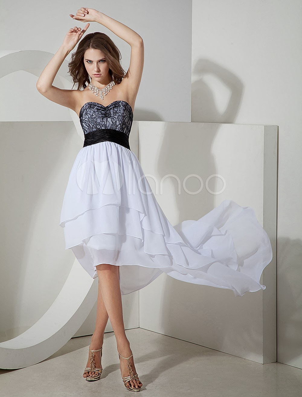 China Wholesale Occasion Dresses - White Asymmetrical Hemline Strapless Lace Chiffon Prom Dress