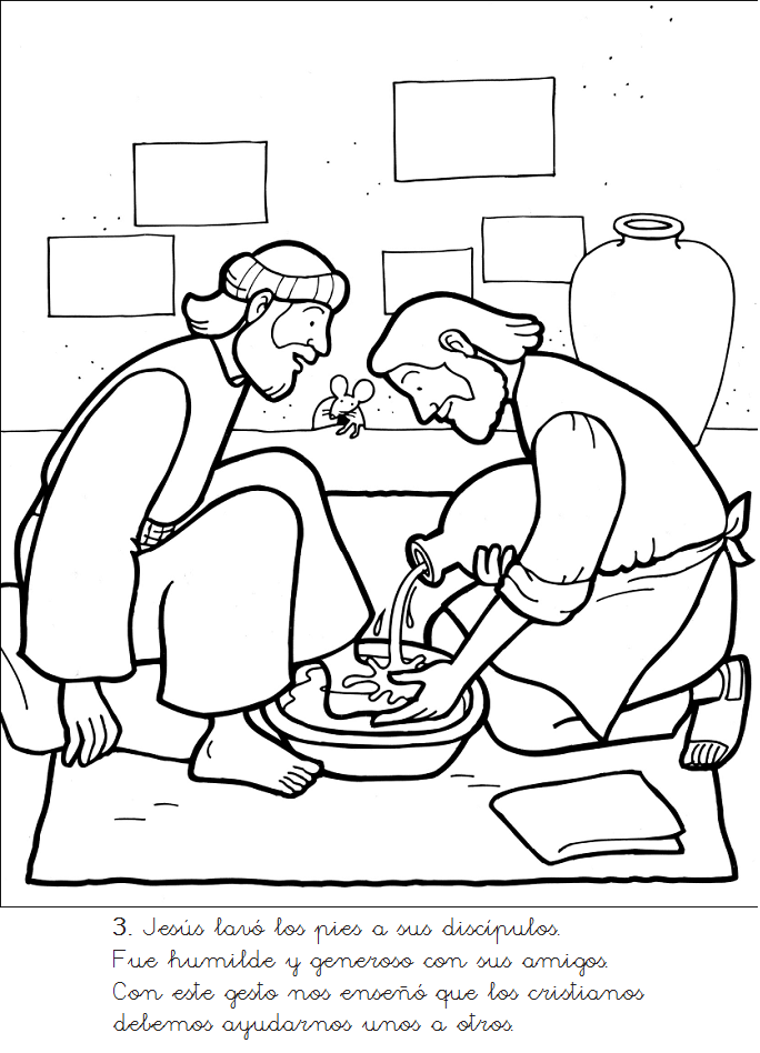Jesus Washing Disciples Feet Coloring Page