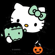 Hello kitty disfrazada de frankestein