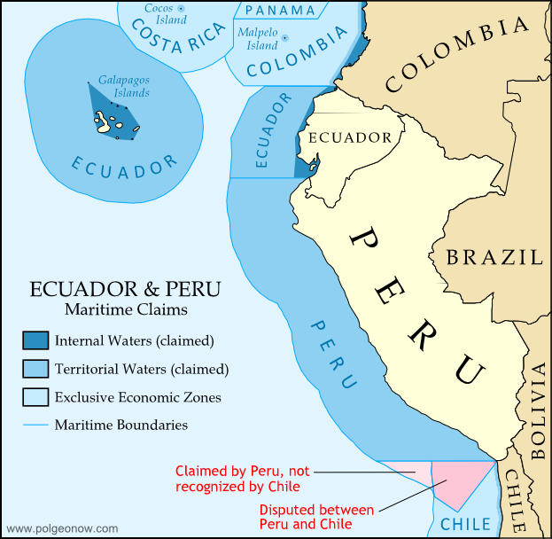 Map of Ecuador and Peru's territorial seas as claimed in 2011, showing neighboring countries' territorial seas and exclusive economic zones.