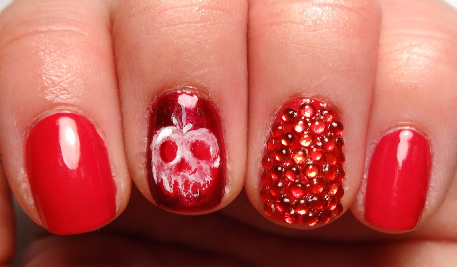 Red Rhinestone Nail
