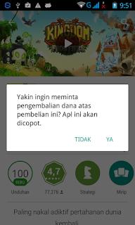 Konfirmasi Refund dana Aplikasi/Game Android di Google Play Store