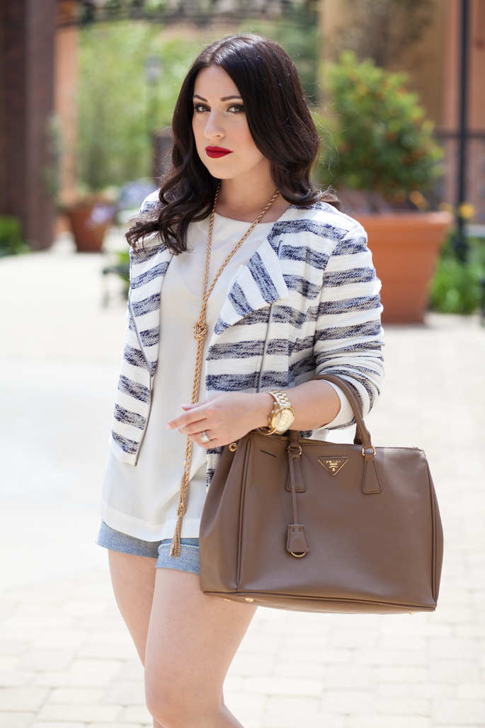le-tote-cropped-striped-jacket-jcrew-denim-shorts-prada-bag-ily-couture-tassel-necklace-stila-red-lipstick-king-and-kind