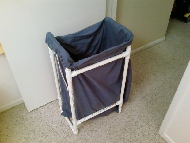 Make a laundry hamper to organize dirty clothes with PVC pipe :: OrganizingMadeFun.com