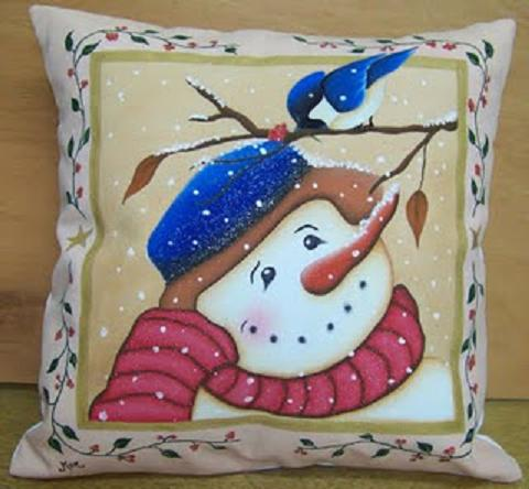 Pintura en tela a mano cojines navide os pintados a mano - Pintura en tela motivos navidenos ...