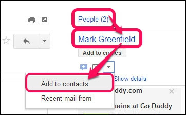 The People section in Gmail that allows adding sender or recipient to the Contacts list