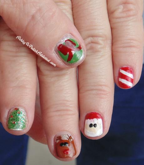 Late Night Nail Art Quick Easy Patriotic Mani: Ashley Is PolishAddicted: Merry Christmas Eve