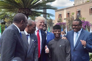 Acting president Yemi Osinbajo and Donald Trump smiling for the cam at World G7 Summit in Italy