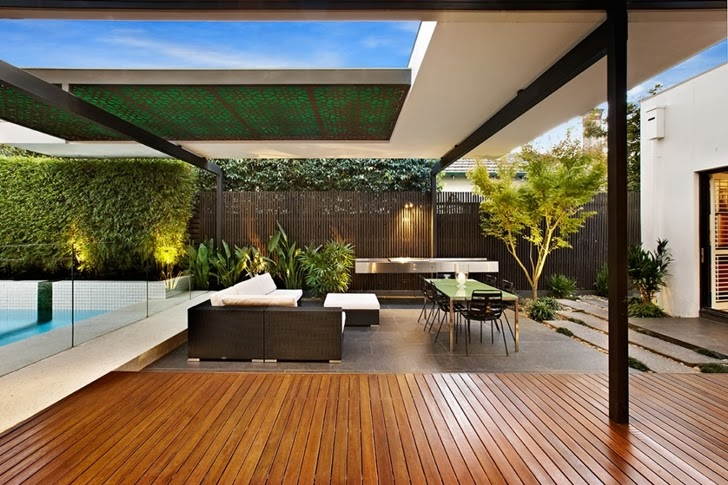 Covered Part With Furniture On Beautiful Modern Backyard By Cos Design
