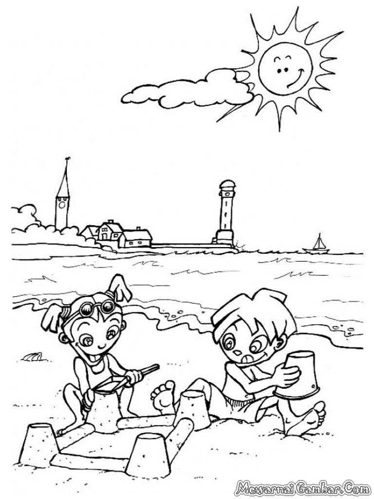 cara menggambar pemandangan