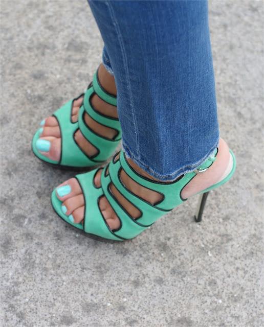 Loriblu heels, green sandals, Tiffany nail polish, Fashion and Cookies