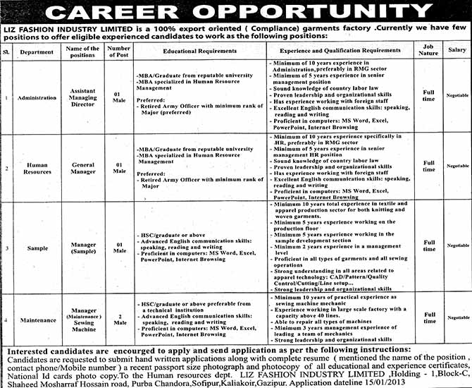 Jobs Barta Liz Fashion Industry Ltd Jobs Circular Post Amd Gm Manager