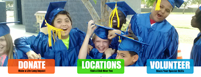 Image of young kids in graduation caps and gowns.
