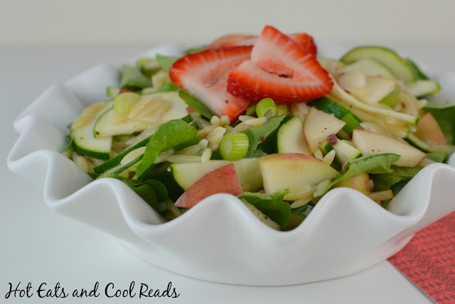 A fresh and delicious summer salad! Perfect side for some grilled chicken or steak! Watercress, Apple and Zucchini Orzo Salad from Hot Eats and Cool Reads