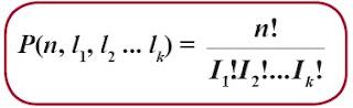 Banyaknya permutasi n unsur yang mempunyai l1 unsur jenis pertama, l2 unsur jenis kedua, l3 unsur jenis ketiga, dan lk unsur jenis ke-k yang sama