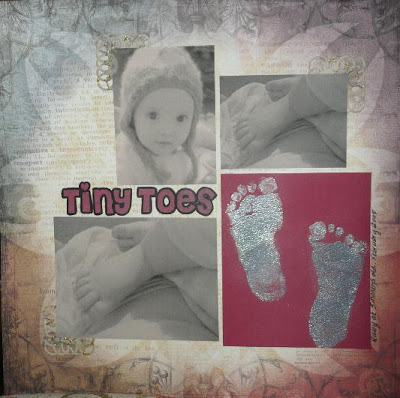 Carmen Wing at Whoopidooings - Embossed Baby Feet - Tiny Toes Scrapbook Page