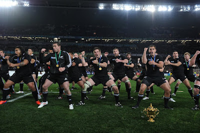 The All Blacks perform the Haka before the 2011 World Cup final.