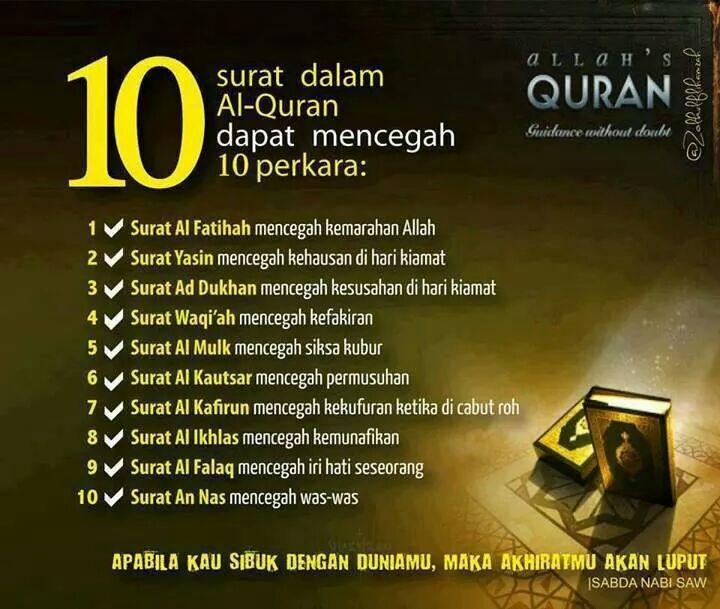 Tazkirah - 10 Surah Dalam Al-Quran Dapat Mencegah 10 Perkara