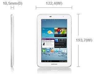 Dimensi Samsung Galaxy Tab 2 7.0 P3110 Tablet Dual Core Murah